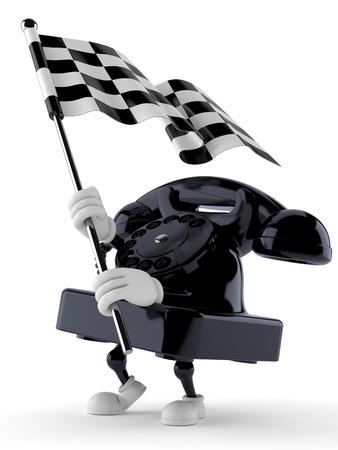 Telephone character waving race flag isolated on white background. 3d illustration
