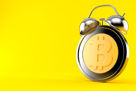 Bitcoin alarm clock isolated on orange background. 3d illustration Stock Photo
