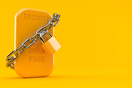 Gold brick with chain isolated on orange background. 3d illustration