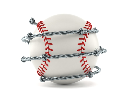 Baseball ball with barbed wire isolated on white background. 3d illustration Archivio Fotografico - 100993851