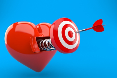 Bull's eye with open heart isolated on blue background. 3d illustration 写真素材