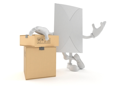 Envelope character with stack of boxes isolated on white background. 3d illustration