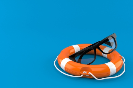 Glasses with life buoy isolated on blue background. 3d illustration