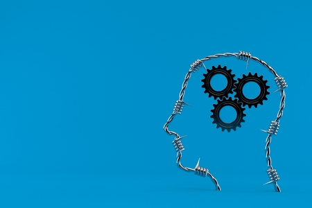 Gears inside human head isolated on blue background. 3d illustration