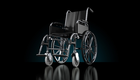 Wheelchair on black background. 3d illustration Stock Photo