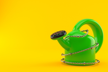 Watering can with barbed wire isolated on orange background. 3d illustration Stock Photo