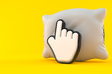 Pillow with cursor isolated on orange background. 3d illustration