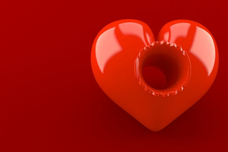 Heart with hole isolated on red background. 3d illustration Stockfoto