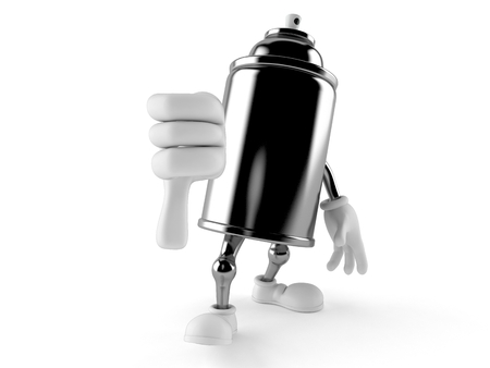 Spray can character with thumbs down gesture isolated on white background. 3d illustration