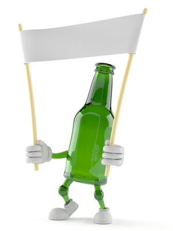 Green glass bottle character holding blank banner isolated on white background. 3d illustration