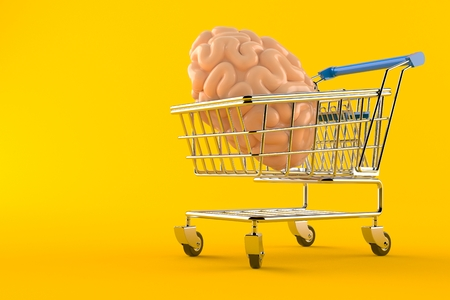 Shopping cart with brain isolated on orange background. 3d illustration