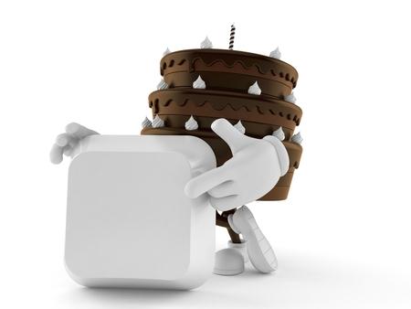 Cake character pointing finger on keyboard key isolated on white background. 3d illustration