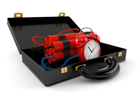 Time bomb inside briefcase isolated on white background. 3d illustration