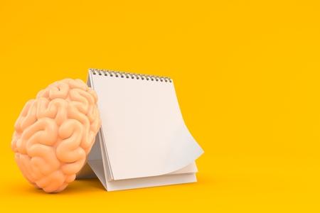 Brain with blank calendar isolated on orange background. 3d illustration