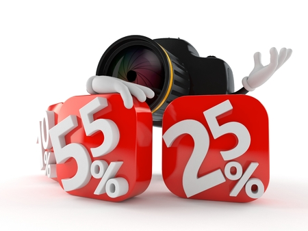 Camera character with percent symbol isolated on white background. 3d illustration