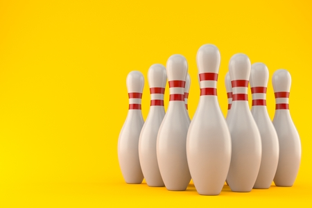 Bowling pins isolated on orange background. 3d illustration
