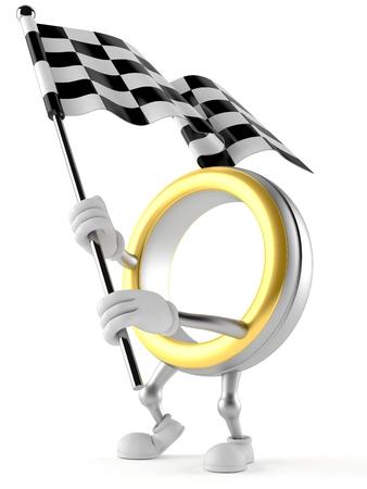Wedding ring character waving race flag isolated on white background. 3d illustration Banco de Imagens