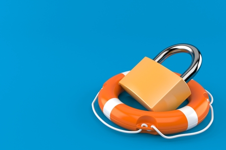 Padlock with life buoy isolated on blue background. 3d illustration Stock fotó