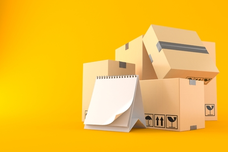 Boxes with blank calendar isolated on orange background. 3d illustration