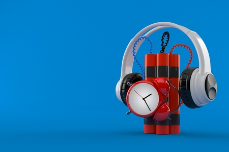 Time bomb with headphones isolated on blue background. 3d illustration