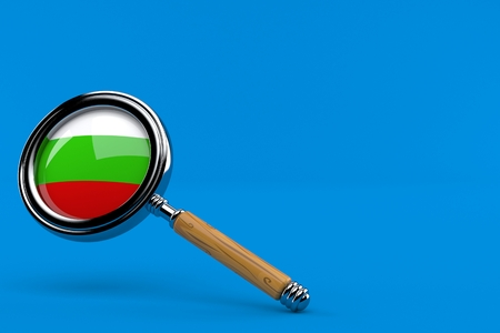 Magnifying glass with bulgarian flag isolated on blue background. 3d illustration