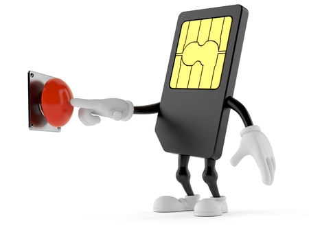SIM card character pushing button isolated on white background. 3d illustration