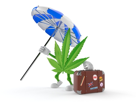Cannabis character with suitcase isolated on white background. 3d illustration