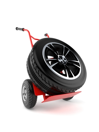 Car tire with hand truck isolated on white background. 3d illustration