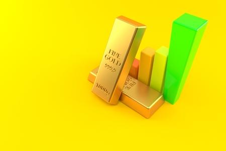 Gold ingots with chart isolated on orange background. 3d illustration Stock Photo