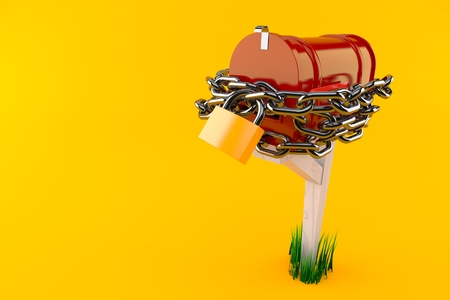 Open mailbox with and padlock isolated on orange background. 3d illustration Stockfoto
