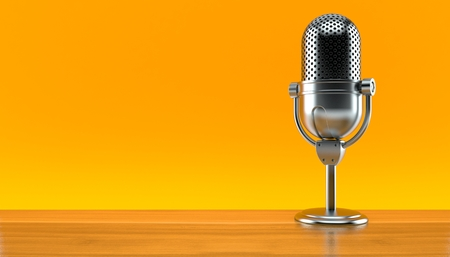 Radio microphone on orange background. 3d illustration