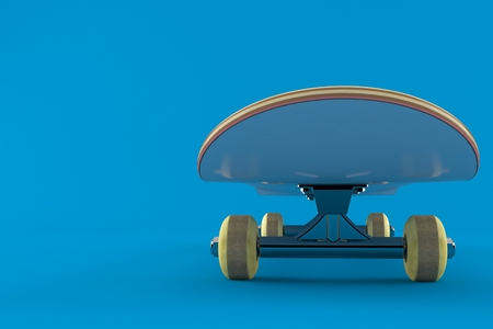 Skateboard isolated on blue background. 3d illustration