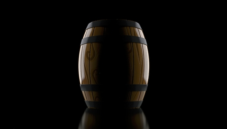 Wine cask on black background. 3d illustration