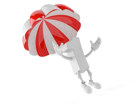 Number one character with parachute isolated on white background. 3d illustration Stock Photo