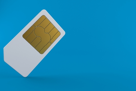 SIM card isolated on blue background. 3d illustration Stock Photo