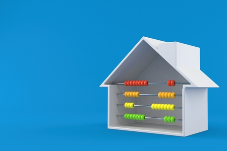 House cross section with abacus isolated on blue background. 3d illustration