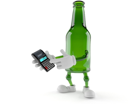 Green glass bottle character using calculator isolated on white background. 3d illustration