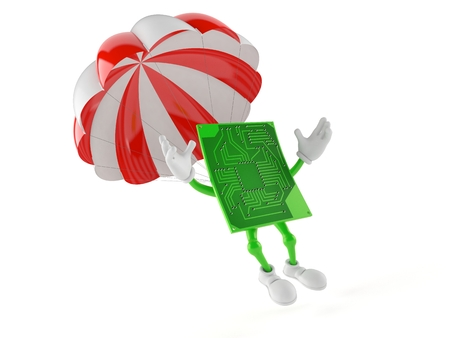 Circuit board character with parachute isolated on white background. 3d illustration Stock Photo
