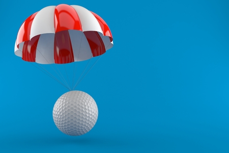 Golf ball with parachute isolated on blue background. 3d illustration