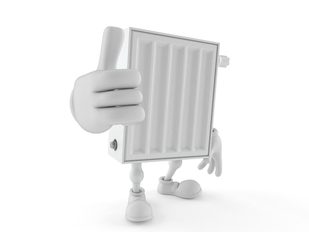 Radiator character with thumbs up isolated on white background. 3d illustration
