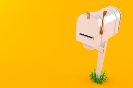 Closed mailbox isolated on orange background. 3d illustration 免版税图像