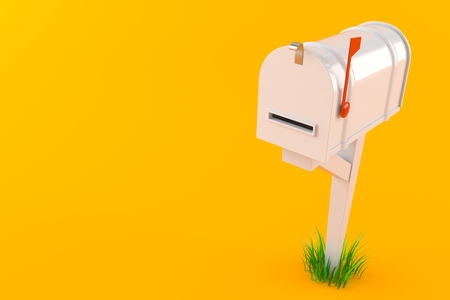 Closed mailbox isolated on orange background. 3d illustration Stock Photo