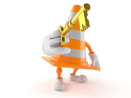 Traffic cone character holding door key isolated on white background. 3d illustration