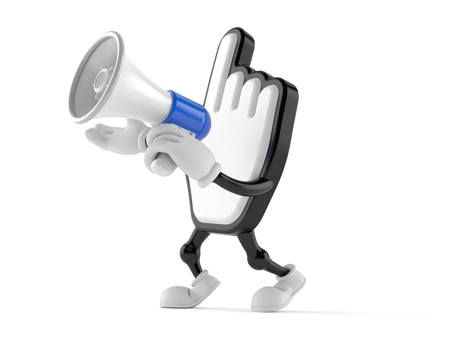 Cursor character speaking through a megaphone isolated on white background. 3d illustration