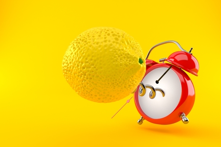 Lemon with alarm clock isolated on orange background. 3d illustration Stock Photo