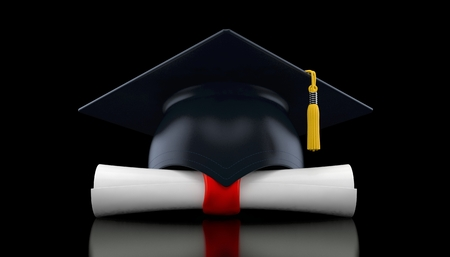 Mortarboard with certificate on black background. 3d illustration Stock Photo
