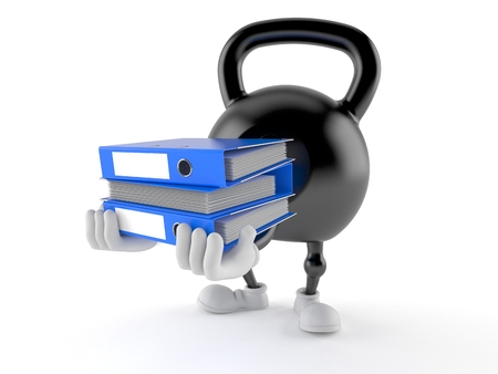 Kettlebell character carrying ring binders isolated on white background. 3d illustration
