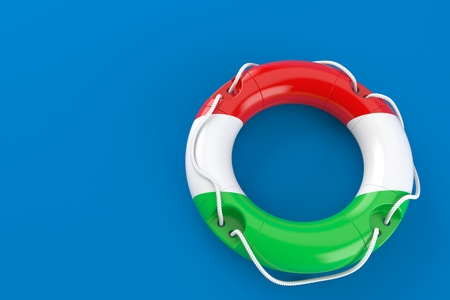 Life buoy with hungarian flag isolated on blue background. 3d illustration