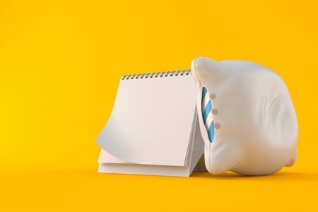 Pillow with blank calendar isolated on orange background. 3d illustration Stock Photo