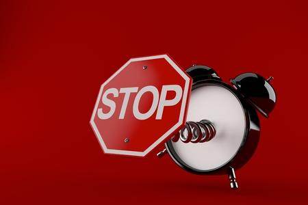 빨간색 배경에 고립 된 정지 기호 알람 시계. 3D 그림 스톡 콘텐츠 - 101699526